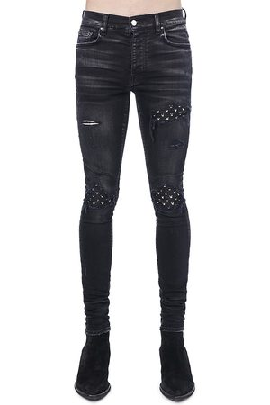 AMIRI Men Leather Pants - Leather Playboy Print Five-Pocket Jeans