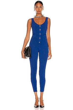 DAVID KOMA Front Button Detail Knit Jumpsuit in Royal