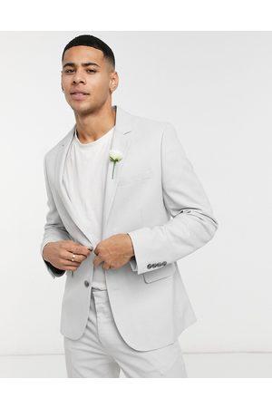 ASOS Wedding super skinny suit jacket in ice micro texture-Grey