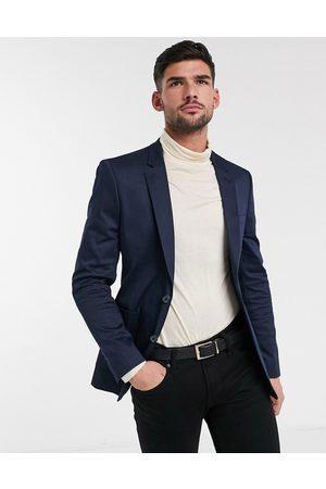 ASOS Wedding skinny blazer in navy cotton
