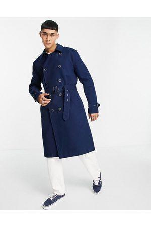 ASOS Shower resistant longline trench coat with belt in navy