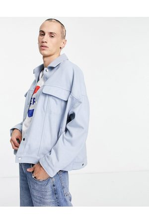 ASOS Oversized wool mix western jacket in icy blue-Blues