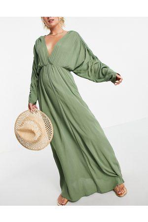 ASOS Plunge front beach maxi dress in khaki