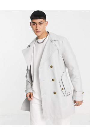 ASOS Rain resistant double breasted trench coat in -Grey