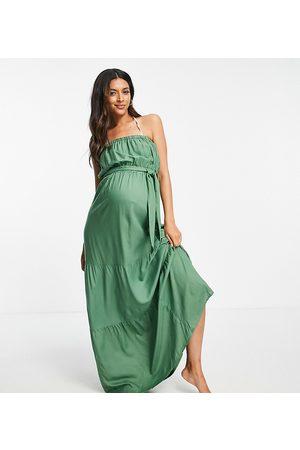 ASOS ASOS DESIGN Maternity bandeau tiered maxi beach dress in khaki