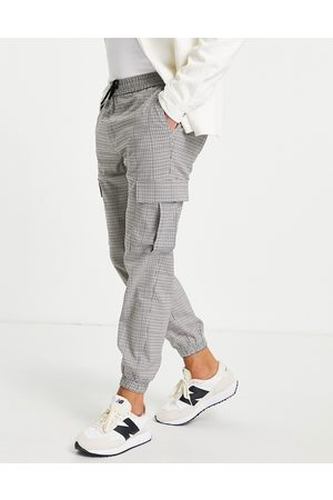 Topman Pupstooth skinny cargo check pants in stone-Neutral