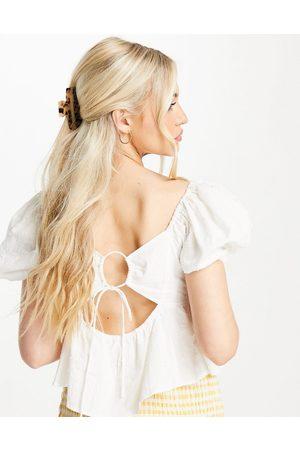 Skylar Rose Poplin puff sleeve blouse with tie back in off