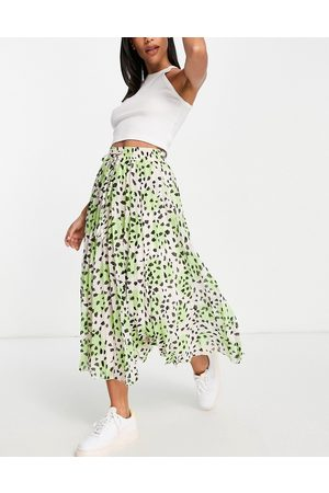 ASOS Pleated midi skirt with shirred waistband in animal print-Multi