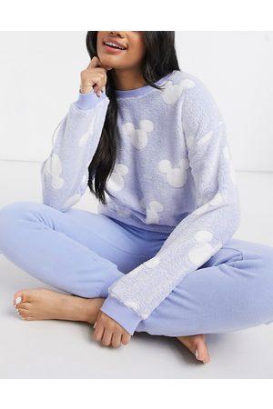Women secret Mickey Mouse cozy printed pajama set in blue-Blues