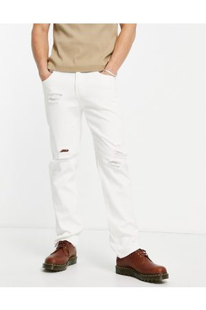 Liquor N Poker Co-ord straight leg jeans in off- denim with distressing