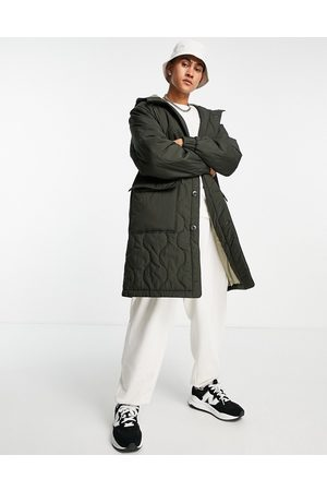 ASOS Quilted parka jacket in khaki