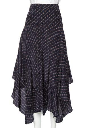 Stella McCartney Navy Printed Silk Asymmetrical Midi Skirt M