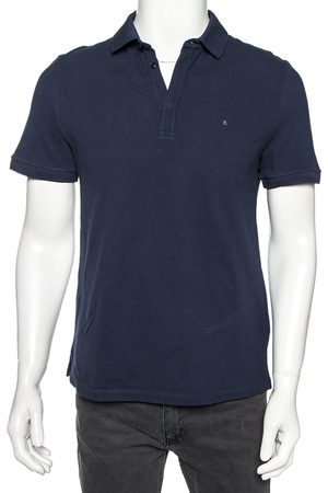 VALENTINO Navy Cotton Pique Iconic Stud Detail Polo T-Shirt M