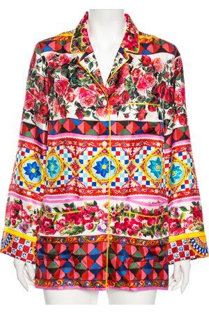 Dolce & Gabbana Multicolored Caretto Print Silk Pajama Shirt S