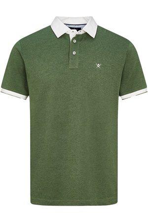 Hackett Men Polo Shirts - Woven Colour Marl Short Sleeve Polo L Deep Forest