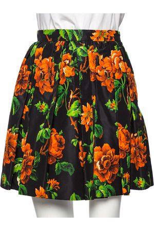 Miu Miu Floral Printed Silk Mini Skater Skirt S