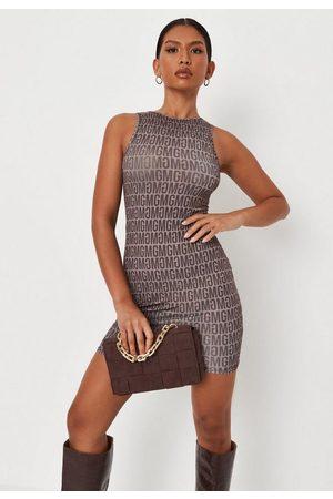 Missguided Mg Repeat Print Slinky Sleeveless Mini Dress