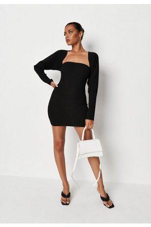 Missguided Recycled Rib Knit Bolero Shrug And Mini Dress Co Ord Set