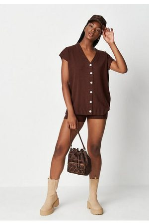 Missguided Chocolate Co Ord Grandad Button Through Knit Tank Top