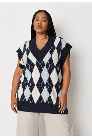 Missguided Plus Size Argyle Knit Sweater Tank Top