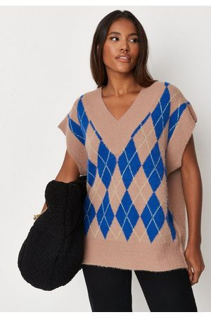 Missguided Tall Argyle Knit Sweater Tank Top