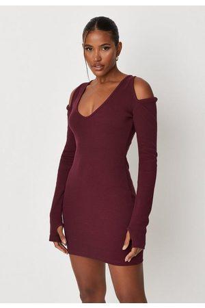 Missguided Petite Wine Rib Cut Out Shoulder Bodycon Mini Dress