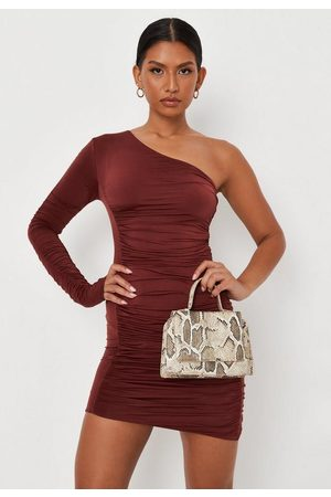 Missguided Chocolate Double Layer Slinky One Shoulder Ruched Mini Dress