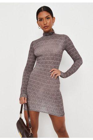Missguided Mg Repeat Print Slinky High Neck Mini Dress