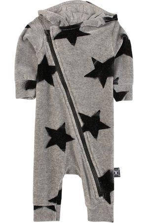 Nununu Velvet Faded Star Zip Overall Heather Grey - 6-12 Months - Grey - Onesie
