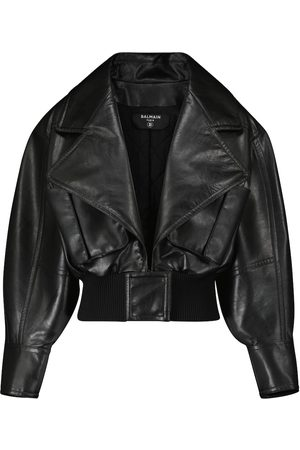 Balmain Women Leather Jackets - Cropped faux leather jacket
