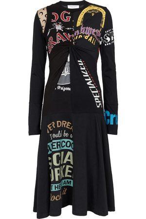 Marine Serre Women Printed Dresses - Printed cotton midi dress