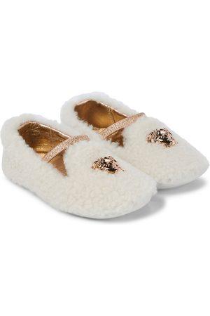 VERSACE Flat Shoes - Baby Medusa shearling ballet flats