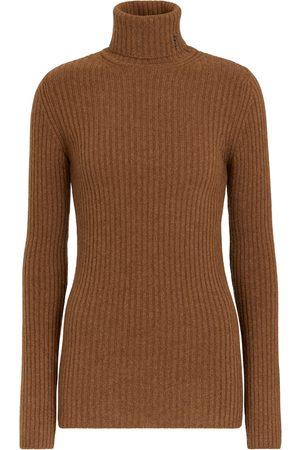 Saint Laurent Women Turtlenecks - Ribbed-knit wool and cashmere turtleneck sweater
