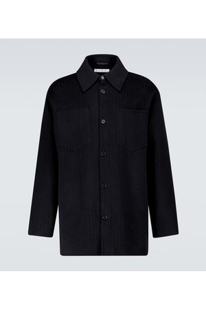 Acne Studios Pinstriped double-faced wool overshirt