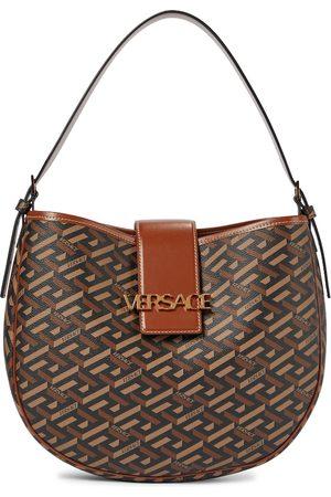 VERSACE Women Purses - Monogram leather-trimmed shoulder bag