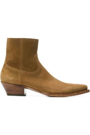 Saint Laurent Calf Suede Ankle Boots