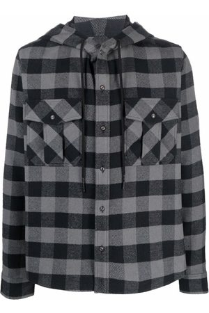OFF-WHITE Arrows-Print Check Hoodie Shirt