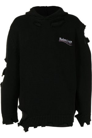Balenciaga Distressed-Effect Embroidered-Logo Hoodie