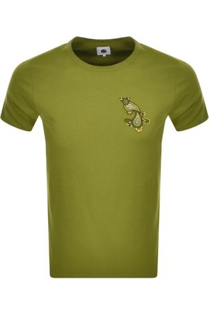 Pretty Green Paisley Print Logo T Shirt Khaki