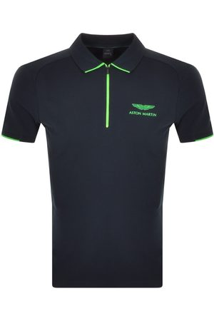 Hackett Half Zip Slim Polo T Shirt Navy