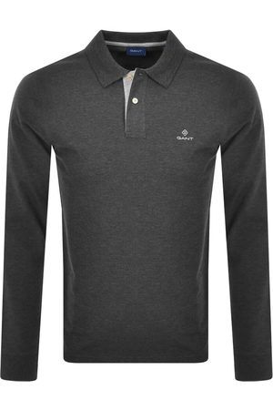 GANT Contrast Collar Long Sleeve Polo T Shirt Grey