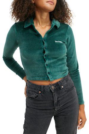 iets frans Women's Solid Velour Polo Shirt