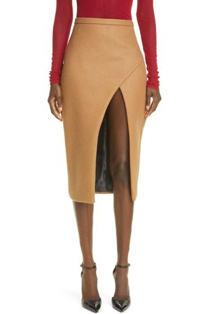 LAQUAN SMITH Women's Open Front Boiled Wool Blend Pencil Skirt