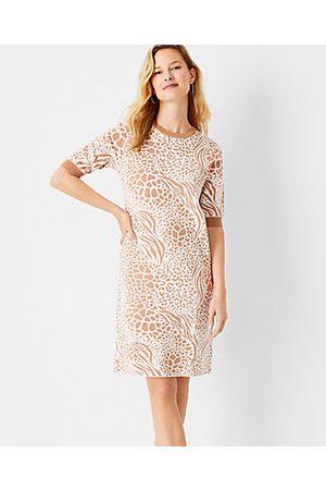 ANN TAYLOR Petite Mixed Animal Print Sweater Shift Dress