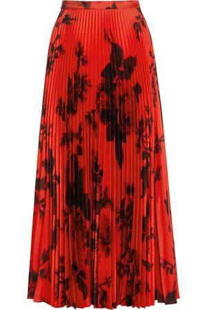 Erdem Nesrine rose-print pleated twill skirt