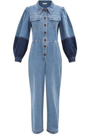 SEA Women Jeans - Zariyah Buttoned Denim Jumpsuit - Womens - Multi