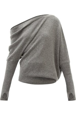 Tom Ford Women Strapless Tops - Off-the-shoulder Cashmere-blend Sweater - Womens - Grey