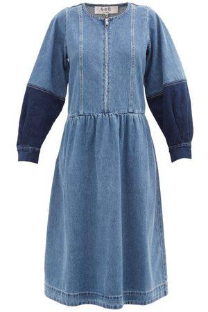 SEA Zariyah Zipped Denim Midi Dress - Womens - Mid Denim