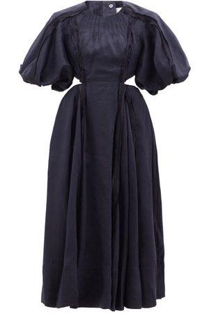 AJE Revitalise Puff-sleeve Cutout Linen-blend Dress - Womens - Navy