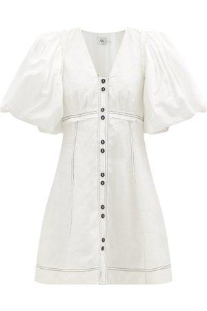 AJE Women Party Dresses - Cherished Puff-sleeve Linen Mini Dress - Womens - Ivory
